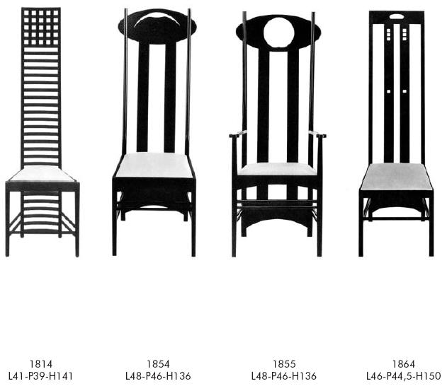 Charles Rennie Mackintosh Wood Dinning Chairs