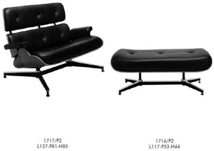 Charlies Eames Type Double Ottoman Easy Chair with Foot Rest