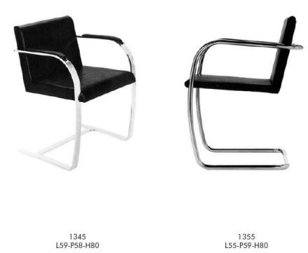 Ludwig Mies van der Rohe Cantilever chairs in Black leather and chrome frame