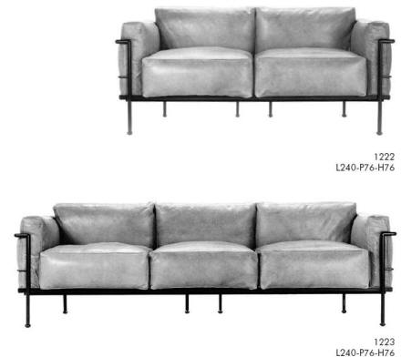 Le Corbusier 2 & 3 seat sofa in leather