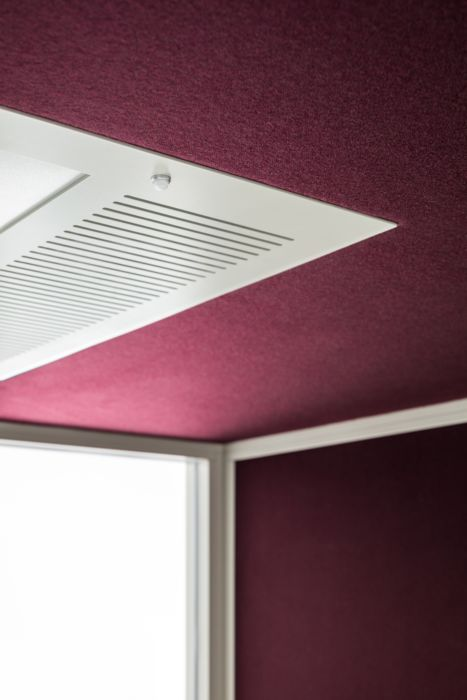 Acoustic glazed pod ceiling, light and ventilation