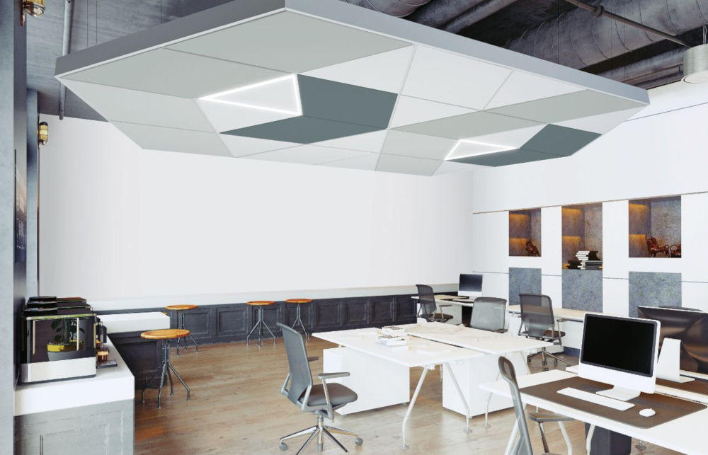 Sound absorbing ceiling grid.