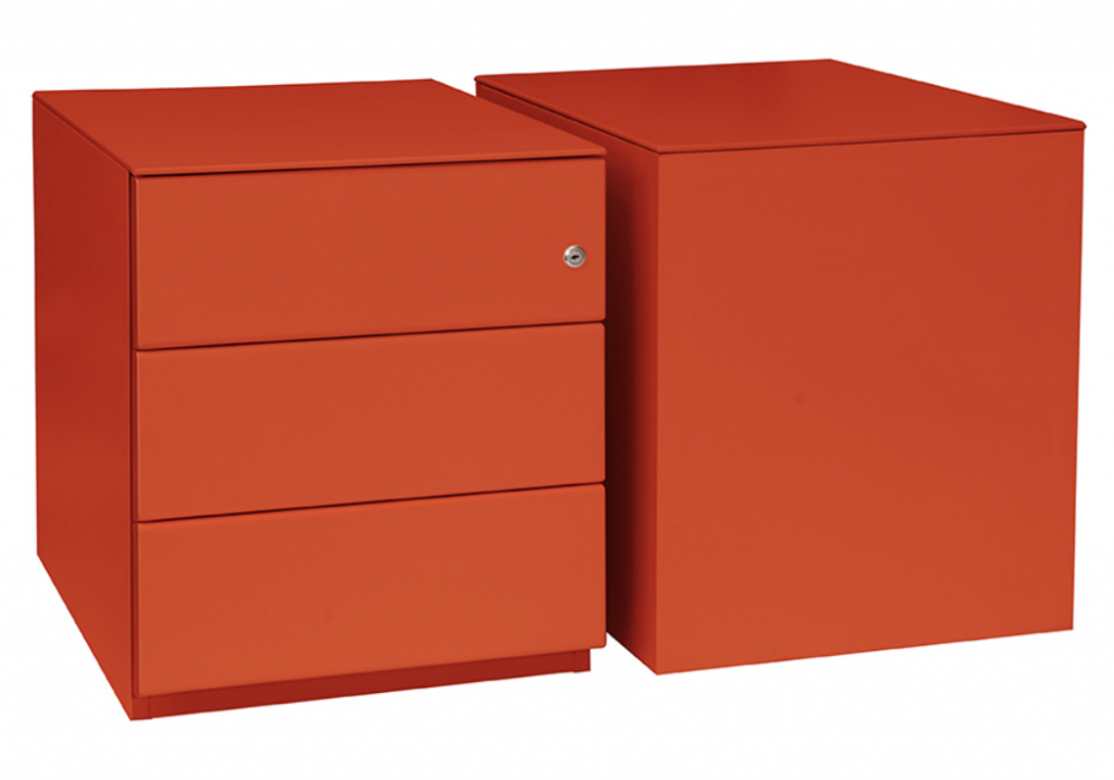 pedestal box file finish orange