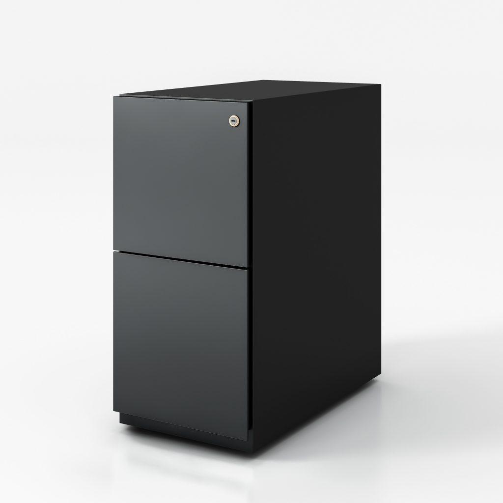 Narrow red pedestal box file black