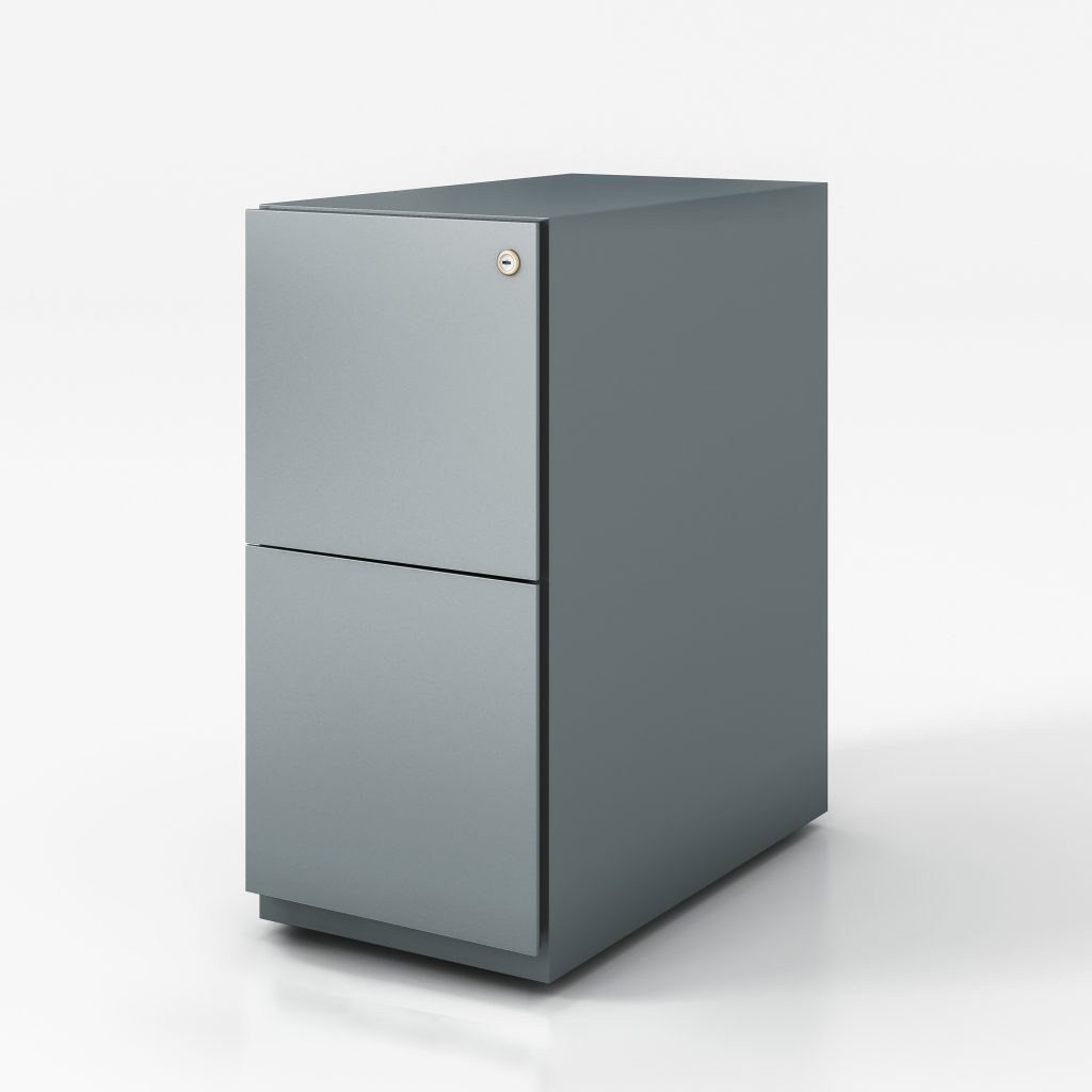 Narrow pedestal box file grey