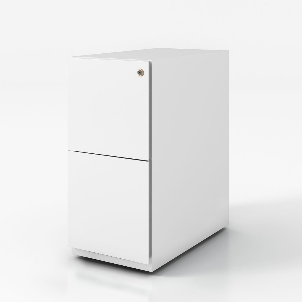 Narrow white pedestal box file