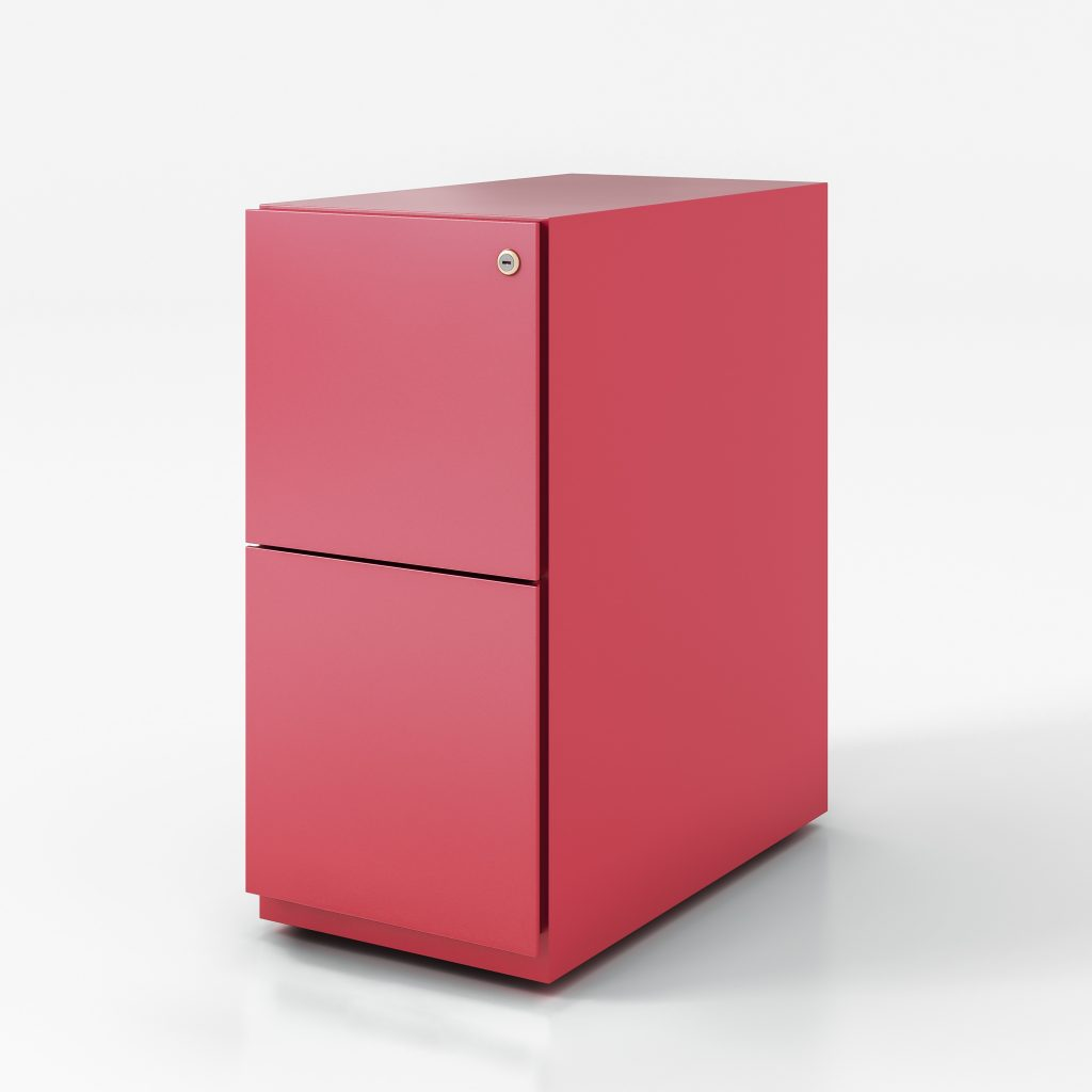 Narrow pedestal box file pink