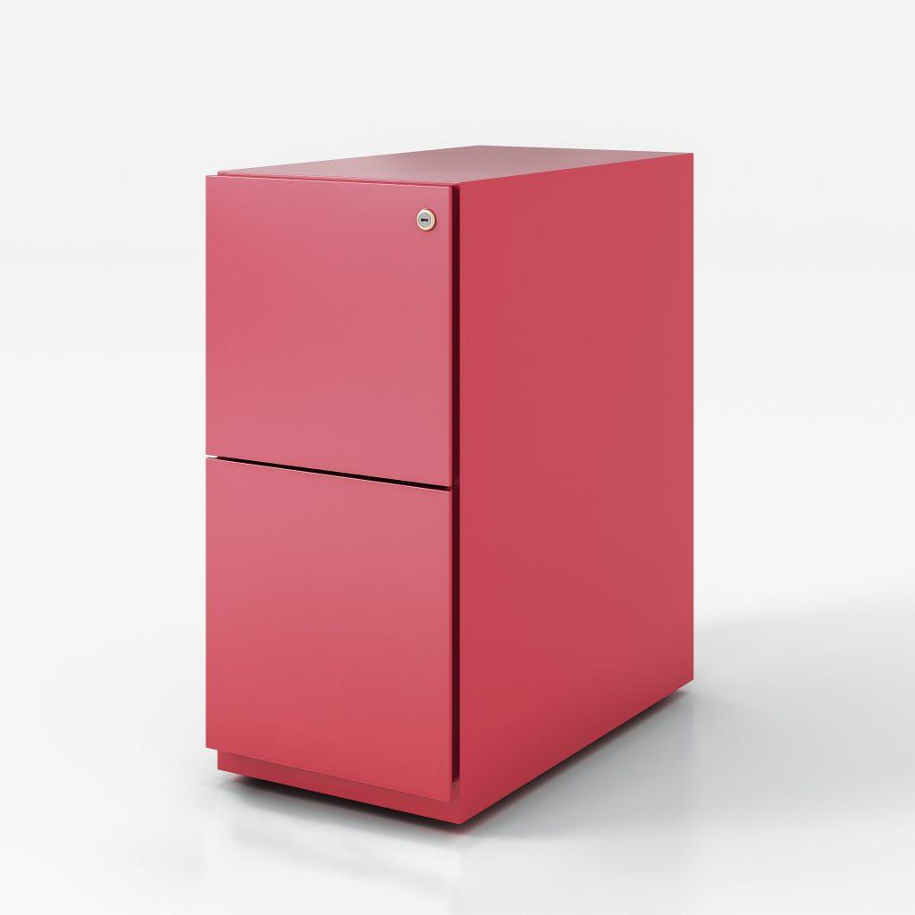 Narrow pedestal box file pink