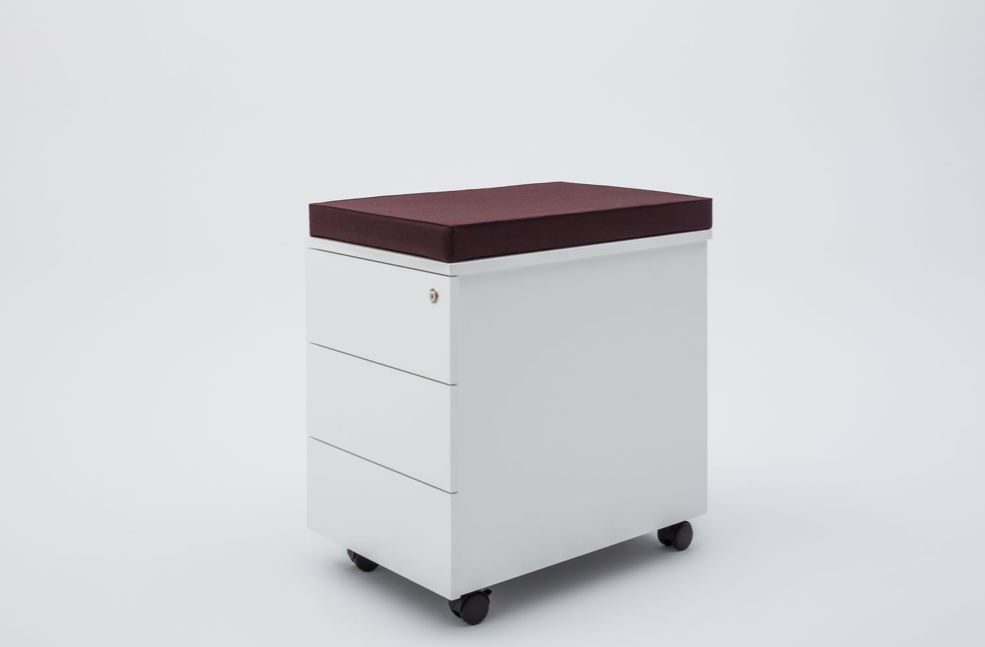 pedestal white box file with cushion