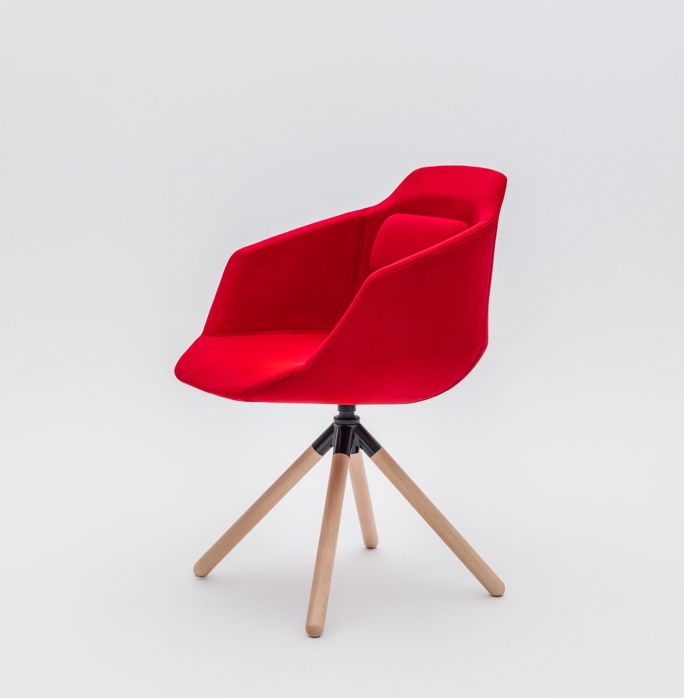 Ultra wood leg prong red chair