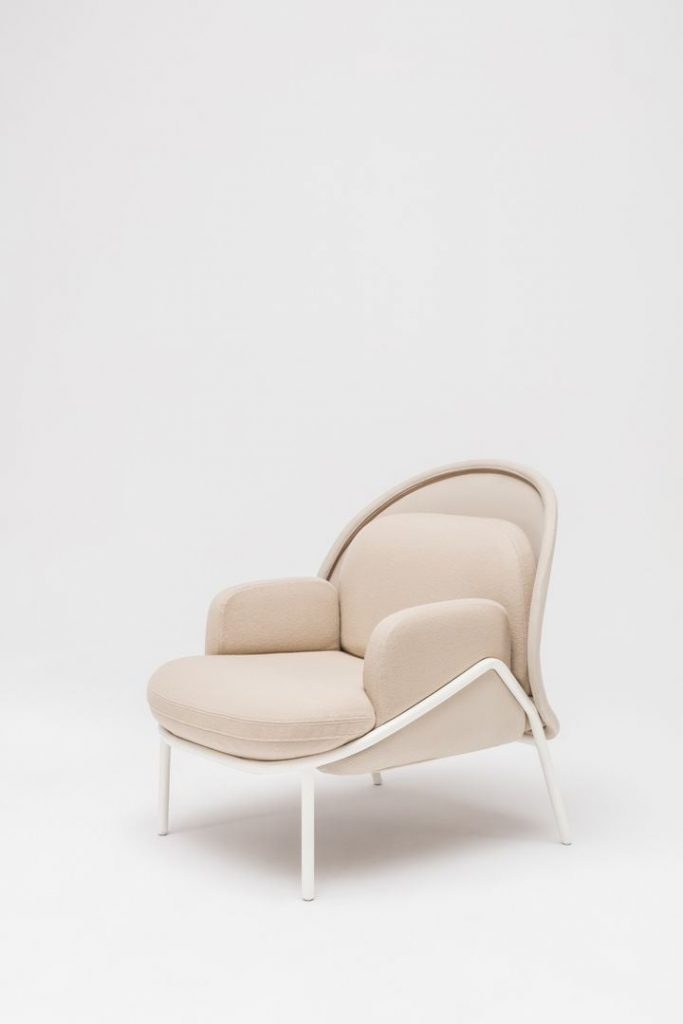 mesh cream armchair