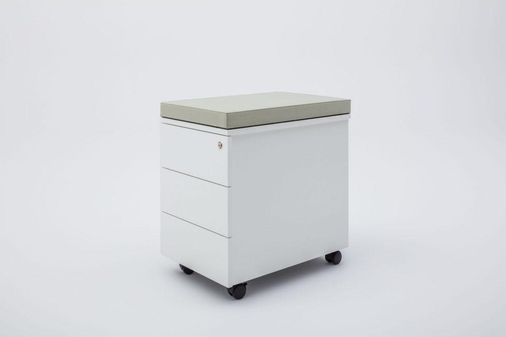 pedestal white box file with cushion