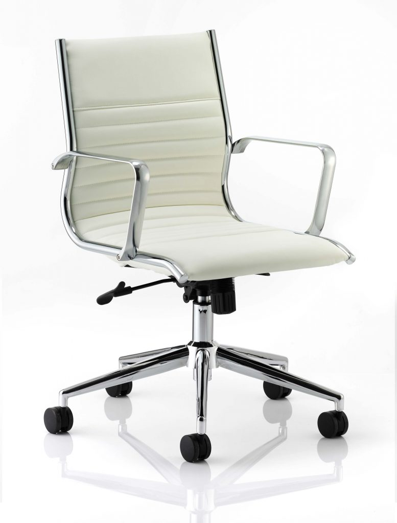 ritz medium back chair castor white