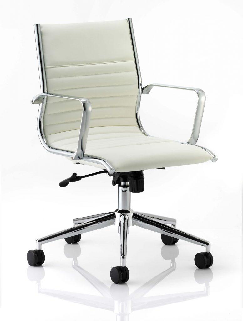 ritz medium back chair castor white