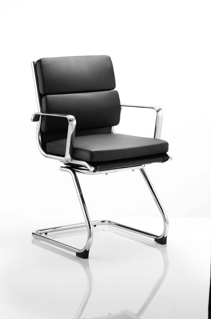 savoy canteliver medium back chair in back leather