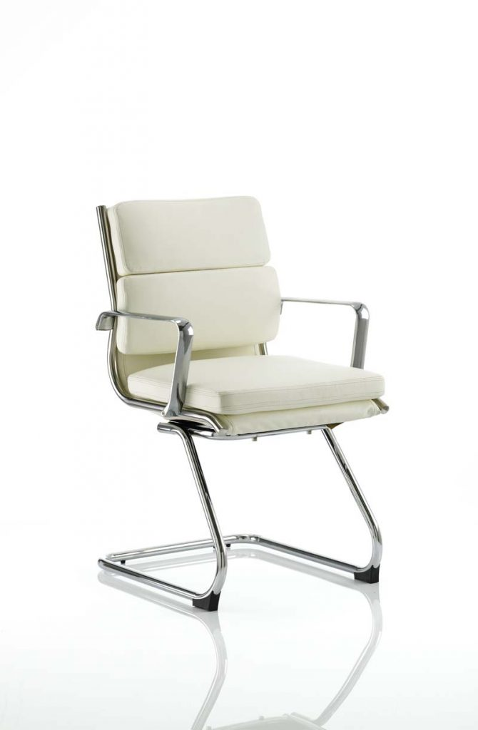 savoy medium back chair canteliver white leather