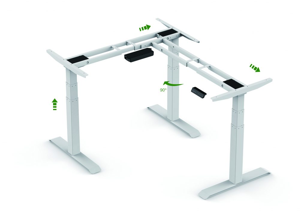 triple motor sit stand frame