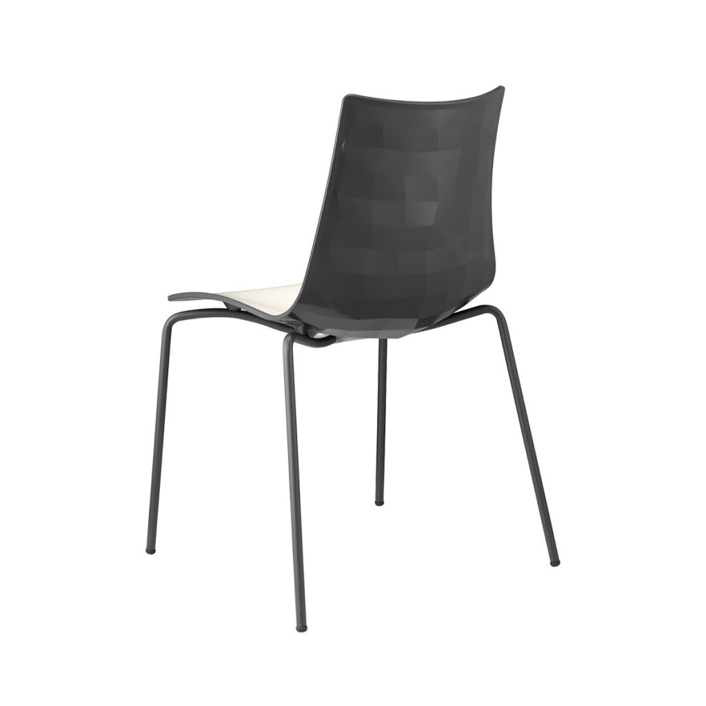 zebra chair white seat & black back