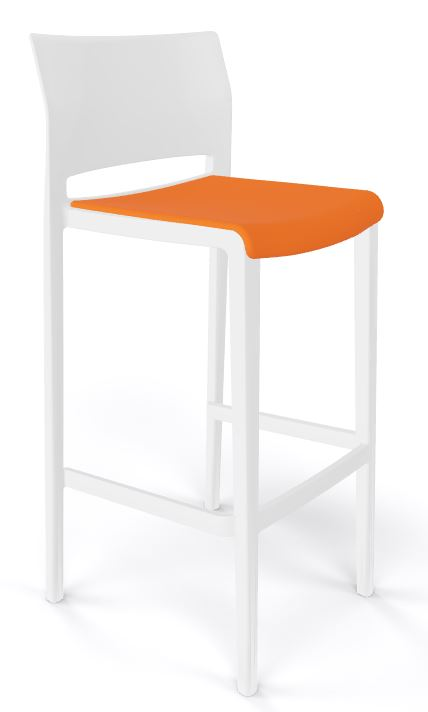 Bakhita stool white and orange seat