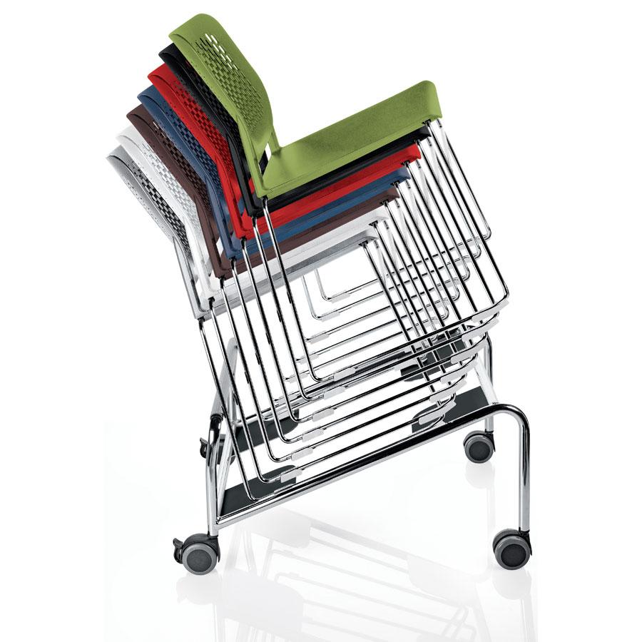 malika chairs on stacker trolley