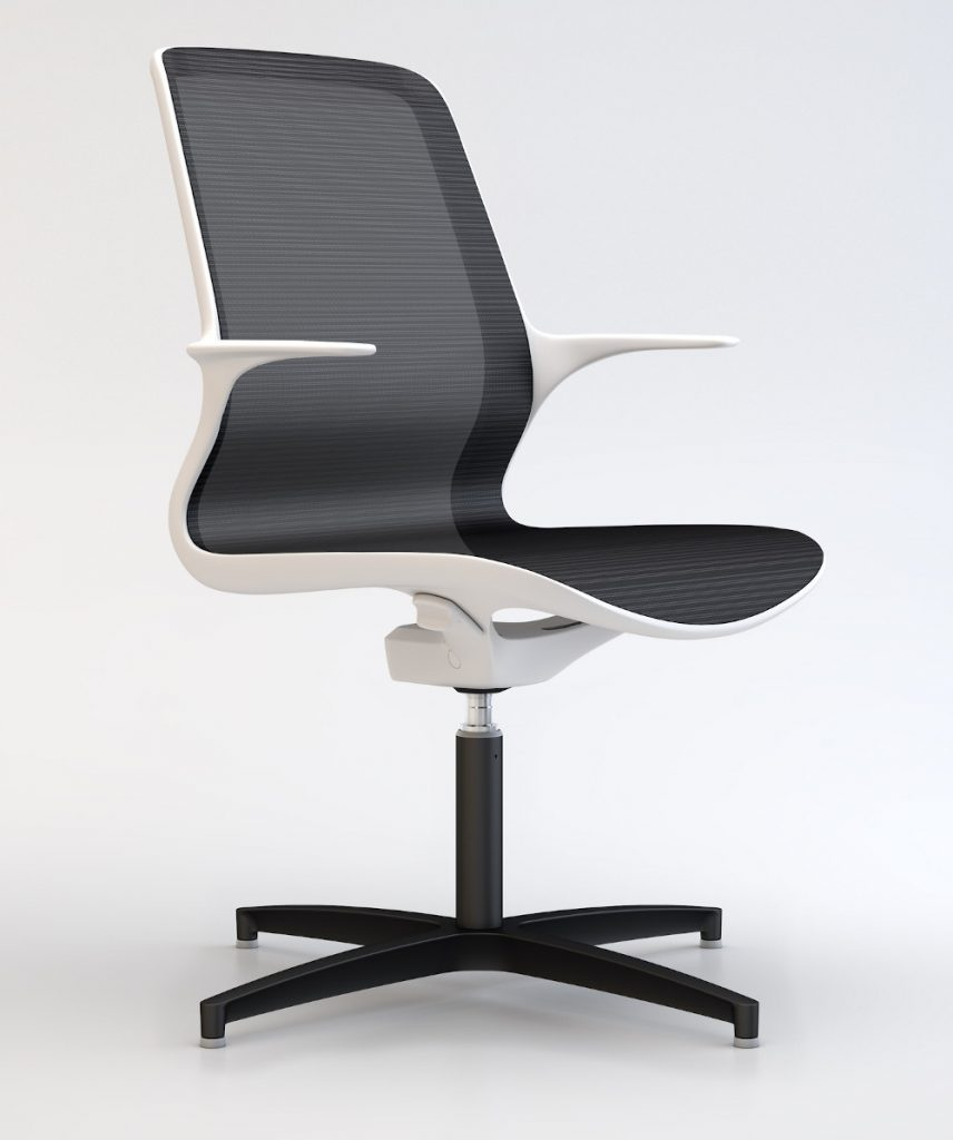 suzi office white frame & black mesh visitor chair