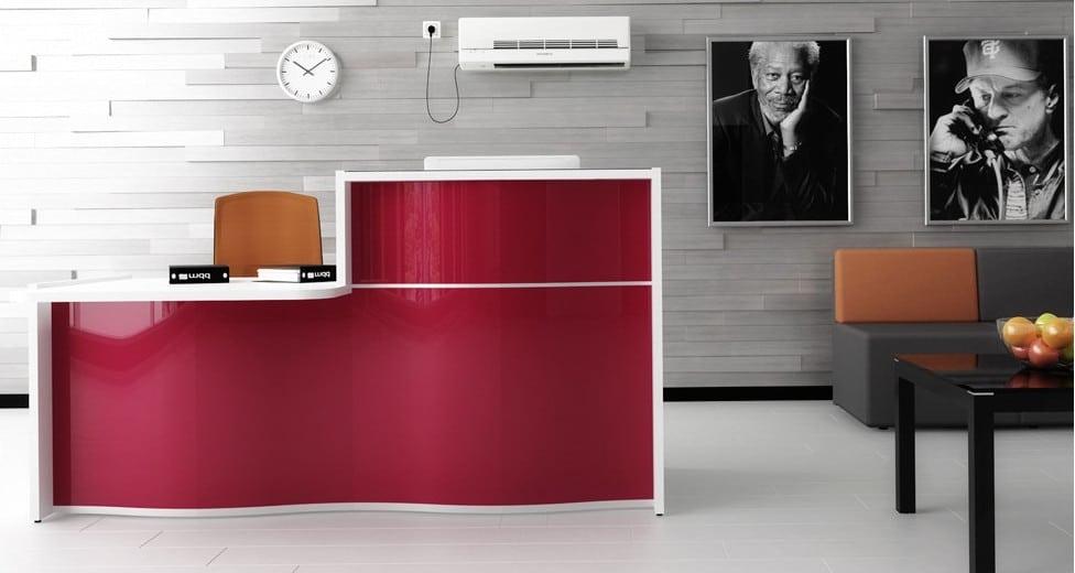 wave reception desk burgundy red