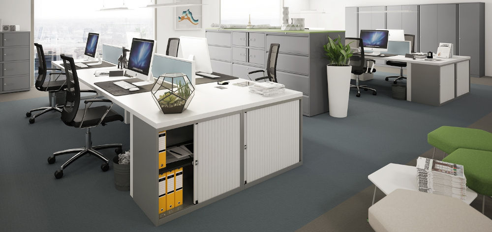 tambour cupboard grey