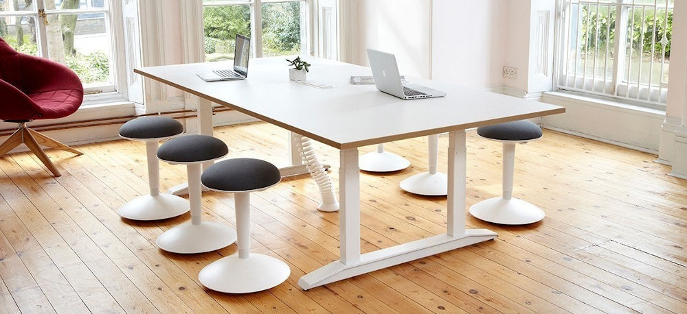 work together sit stand meeting table